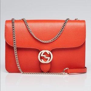 ❤️GUCCI❤️NEW pebbled leather interlocking G orange